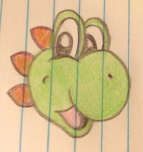 BEFORE: (This is my original sketch of the character, Yoshi.)